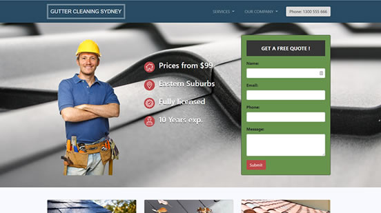 web design for gutter cleaners